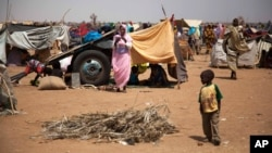 In this photo taken on March 9, 2014 and released by the United Nations African Union Mission in Darfur, a Sudanese family take shelter under their donkey cart at the Kalma refugee camp for internally displaced people, south of the Darfur town of Nyala, Sudan.