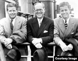 Joseph P. Kennedy Jr., Joseph P. Kennedy Sr., and John F. Kennedy arriving at Southampton, England, July 2, 1938.