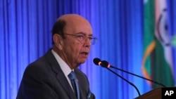 美国商务部长罗斯在印度新德里发表讲话。(2019年5月7日)