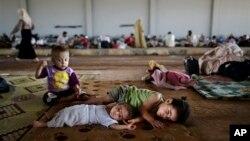 Trẻ em tị nạn Syria trong trại tị nạn gần biên giới Thổ Nhĩ Kỳ.