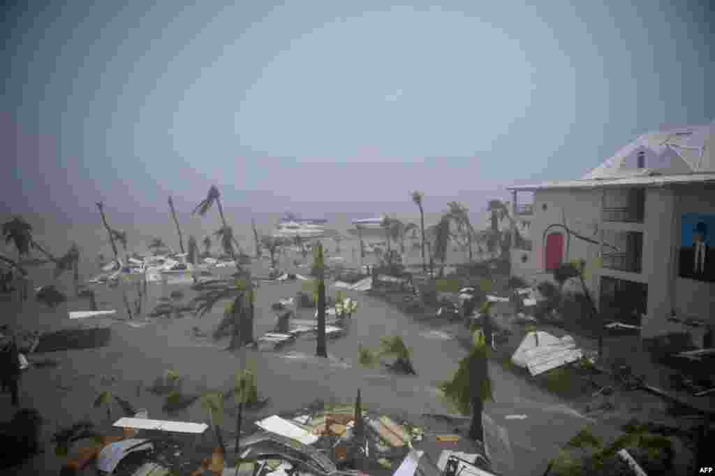 The Hotel Mercure in Marigot, near the Bay of Nettle, on the French Collectivity of Saint Martin, during the passage of Hurricane Irma, Sept. 6, 2017. France, the Netherlands and Britain sent water, emergency rations and rescue teams to their stricken territories in the Caribbean hit by Hurricane Irma, which has killed at least 10 people.
