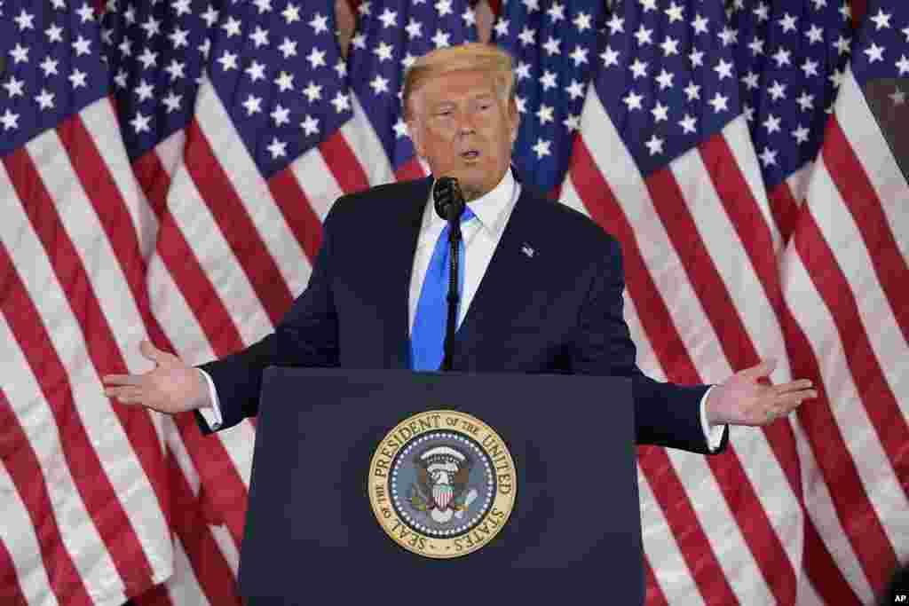 Président Donald Trump azali koloba na East Room ya Maison Blanche, Washington, 4 novembre 2020. (AP Photo/Evan Vucci)