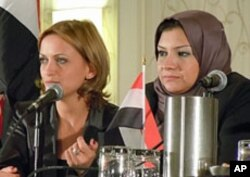 Asmaa Mahfouz (right) and Zahra Said
