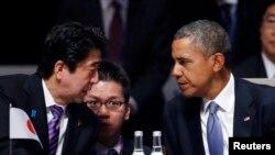 美國總統奧巴馬(右)和日本首相安倍晉三(左)