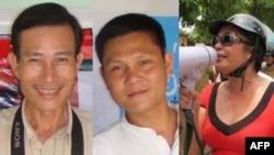 Từ trái: Blogger Điếu Cày, blogger Anhbasaigon, và bà Bùi Thị Minh Hằng, nằm trong số những người bị giam giữ dài hạn mà không thông qua xét xử