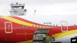 2016年1月26日,海南航空公司的波音787梦幻客机在西雅图-塔科马国际机场装货。海航否认787公务机上有不正当行为