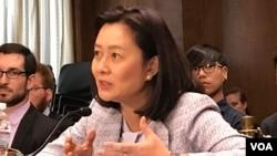 美國維吉尼亞大學講師及香港中文大學教授林夏如2019年9月4日參加美中經濟與安全審查委員會2019年美中關係聽證會(美國之音鍾辰芳拍攝)