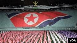 Salah satu rapat umum di ibukota Korea Utara, Pyongyang (foto: dok.).