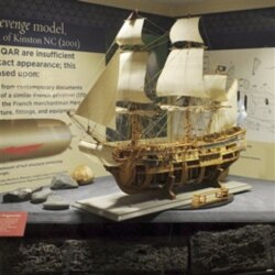 A model of the Queen Anne's Revenge at the North Carolina Maritime Museum