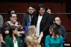 Supreme Court Justice Sonia Sotomayor talks with students at the University of Michigan on Jan. 30, 2017, in Ann Arbor, Mich. (AP Photo/Carlos Osorio)