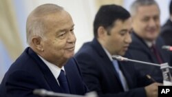 FILE - Uzbek President Islam Karimov is pictured during his meeting with U.S. Secretary of State John Kerry at the Palace of Forums in Samarkand, Uzbekistan, Nov. 1, 2015.