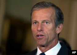 FILE - Sen. John Thune, R-S.D. addresses the media.