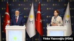 Saadet Partisi Genel Başkanı Temel Karamollaoğlu ve İyi Parti Genel Başkanı Meral Akşener