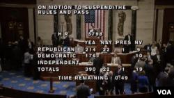تصویری از لحظه رای گیری در مجلس نمایندگان آمریکا