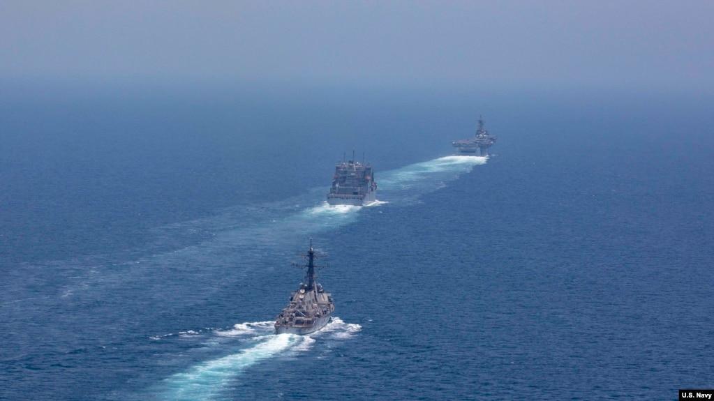 美军一个两栖作战舰队2019年5月7日穿越霍尔木兹海峡(美国海军照片)