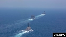 美军一个两栖作战舰队2019年5月7日穿越霍尔木兹海峡Hormuz Strait(美国海军照片)