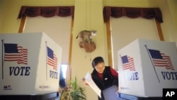Yun Wang, 63, laughs while voting with her husband Sung Wang (not pictured), 68, both of Central City, underneath a stuffed bobcat at the Central City Courthouse in Central City, Colorado, 2 Nov 2010