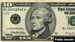 Десятидолларовая банкнота США с портретом Александра Гамильтона