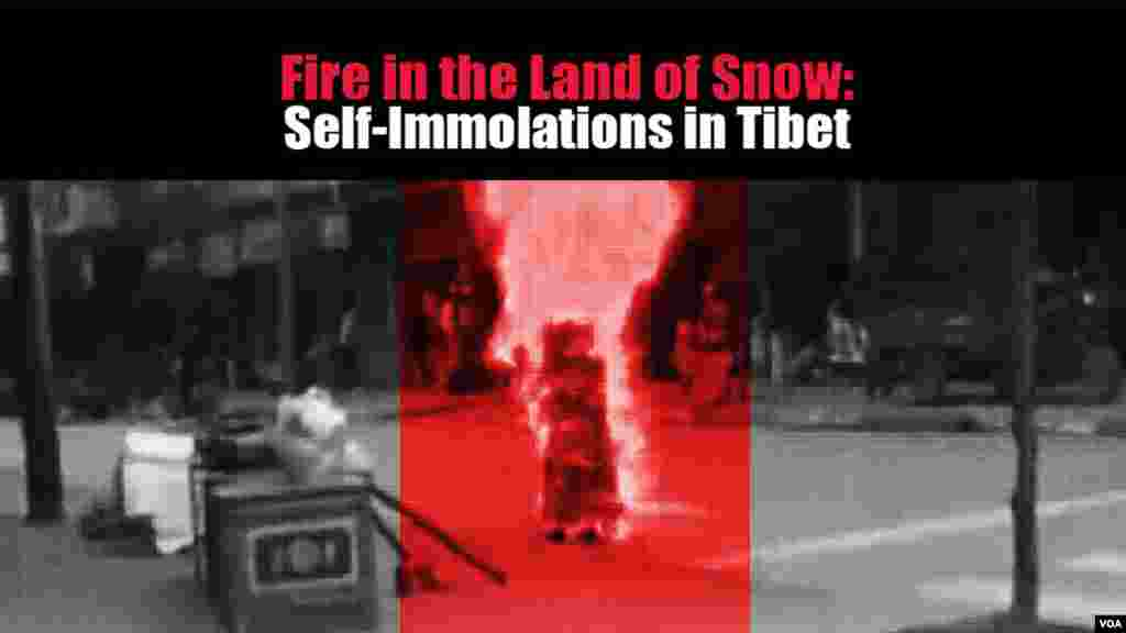 This graphic for VOA documentary, Fire in the Land of Snow: Self-Immolations in Tibet, was designed by VOA Tibetan Service Chief Losang Gyatso.