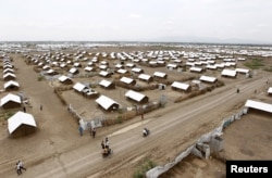 FILE - An aerial view shows recently constructed houses at the Kakuma refugee camp in Turkana District, northwest of Kenya's capital Nairobi, June 20, 2015. The Kalobeyei settlement was built to relieve crowding at the Kakuma refugee camp.