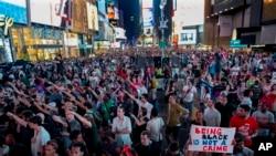 Maandamano baada ya George Zimmerman kuachiwa huru,Times Square, New York, Julai 14, 2013.