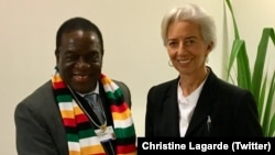 Zimbabwe President Emmerson Mnangagwa with IMF chief Christine Lagarde.