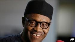Nigerian former Gen. Muhammadu Buhari speaks to journalists in Abuja, Nigeria, Wednesday, April 1, 2015.