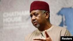 FILE - Nigeria's National Security Adviser Mohammed Sambo Dasuki listens to a question after his address at Chatham House in London, Jan. 22, 2015.