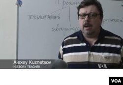 History teacher Alexey Kuznetsov is among those critical of Russia's aggressive defense of Soviet propaganda.