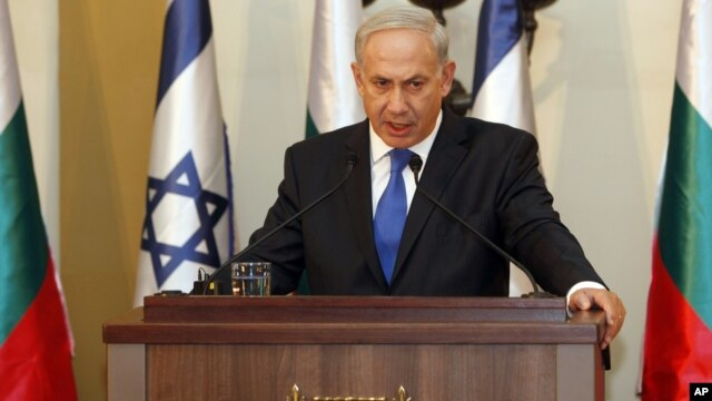 Israeli Prime Minister Benjamin Netanyahu speaks during a joint press conference with his Bulgarian counterpart, Boyko Borissov, not seen, in Jerusalem, Tuesday, Sept. 11, 2012.