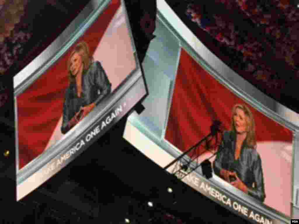 Congresswoman Marsha Blackburn spoke to the night's them of Make America One Again at the Republican National Convention, in Cleveland, July 21, 2016.
