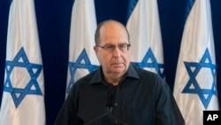Bộ trưởng Quốc phòng Israel Moshe Yaalon phát biểu trong cuộc họp báo tại Bộ Quốc phòng ở Tel Aviv, Israel, ngày 20/5/2016.