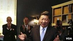 Wakil Presiden Tiongkok Xi Jinping saat melakukan kunjungan ke negarabagian Iowa, bagian tengah Amerika (15/2).