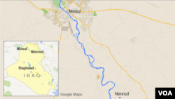 Peta wilayah Irak, letak kota Mosul dan Nimrud