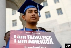 FILE - Immigrant Jose Montes attends an event on Deferred Action for Childhood Arrivals, DACA and Deferred Action for Parental Accountability, DAPA, part of the immigration relief program, downtown Los Angeles, Feb. 17, 2015.