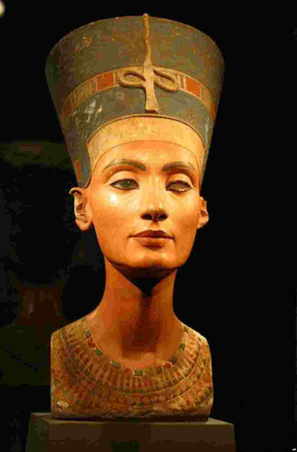 The Bust of Nefertiti, created in the 14th century B.C. in Egypt, resides in the Neues Museum in Berlin, Germany.