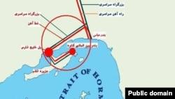 نقشه مربوط به پل خلیج فارس قشم و بزرگراه متصل به آن