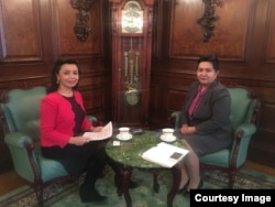 Tanzila Kamalovna Narbaeva, Uzbekistan Deputy Prime Minister and Navbahor Imamova, VOA, Uzbek Embassy in Washington, March 16, 2018