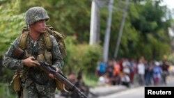 Binh sĩ Philippines tại trung tâm thành phố Zamboanga ở miền nam Philippines.