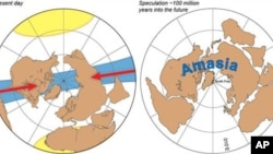 Present day Earth on the left and an orthoversion prediction of future supercontinent, Amasia on the right.