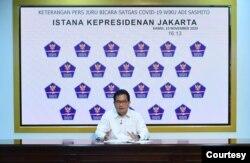 Juru Bicara Satgas Penanganan COVID-19 Prof Wiku Adisasmito dalam telekonferensi pers di Istana Kepresidenan ,Jakarta, Kamis (19/11) mengatakan belum ditemukan efek samping berbahaya dalam uji klinis kandidat vaksin covid-19 Sinovac, di Bandung, Jawa Bara