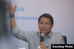 Menkominfo Rudiantara dalam diskusi Forum Merdeka Barat 9 di Jakarta, Selasa (26/2/2019) siang. Dia mengatakan masyarakat tidak perlu takut dengan investasi asing terhadap e-commerce Indonesia. (Foto: FMB9)