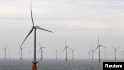 Wind turbines at Thanet Offshore Wind Farm off the Kent coast, southern England, Sept. 23, 2010.