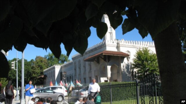 Eid festivities like here at the Islamic Center of Washington have been scaled back this year, 11 Sep 2010
