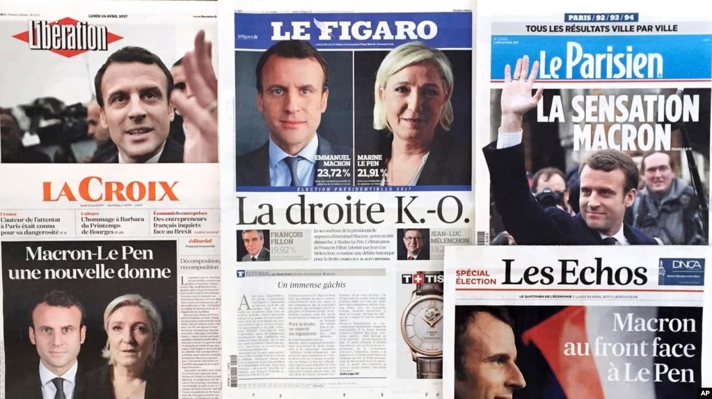 在法國總統大選的第一輪投票中,中間派候選人馬克龍(Emmanuel Macron)和民族主義者、反移民候選人勒龐(Marine Le Pen)勝出。 法國的解放報、費加羅報和迴聲報在頭版刊登他們的照片(2017年4月24日)