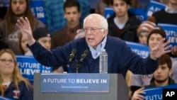 Democratic presidential candidate Sen. Bernie Sanders speaks during a campaign stop at the Franklin Pierce University Fieldhouse, Feb. 6, 2016, in Rindge, N.H.