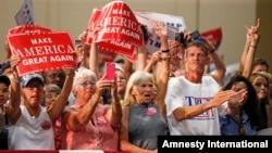 2016年8月20日,共和党总统候选人川普在维吉尼亚举行竞选集会。(资料照片)