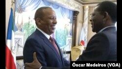 Patrice Trovoada, primeiro-ministro são-tomense, e Teodore Obiang, Presidente da Guiné Equatorial