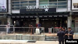 The Movida bar is pictured after a grenade attack in Puchong, on the outskirts of Kuala Lumpur, Malaysia, June 28, 2016.