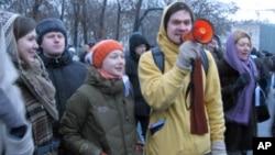 莫斯科集会中的示威者